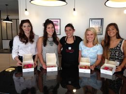 Surya Murthy at far right with her wonderful macaroon making class in Paris. , Sigrid N - July 2015