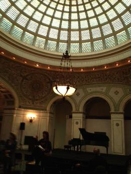 Photo of   Chicago Cultural Center dome with Tiffany chandeliers