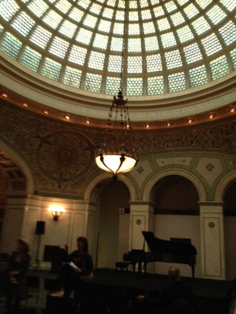 Chicago Cultural Center dome with Tiffany chandeliers - Chicago