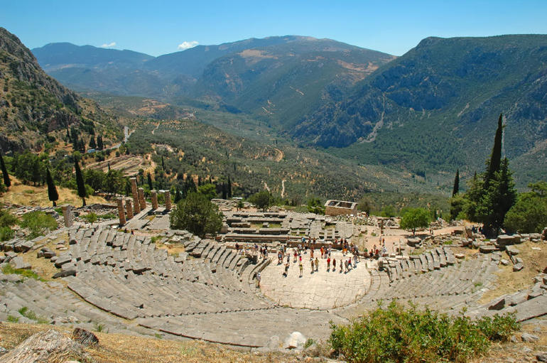 Tourists at Delphi Theatre - Athens