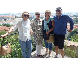 Greg, Glenice, Mum and myself overlooking Prague. Great full day tour incl. a 3 course lunch. Walking down the hill through the Palace, Church, narrowest street, crossing the Charles Bridge, ... , Julie B - July 2014