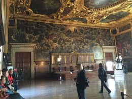Our guide gives us a much needed break, but who can rest under the incredible artwork of a receiving room in the Doge's Palace? , weathertop - July 2015