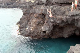 Photo of Big Island of Hawaii Big Island Keauhou Bay Kayaking and Optional Snorkeling Cave Tour Jumping off the cliff