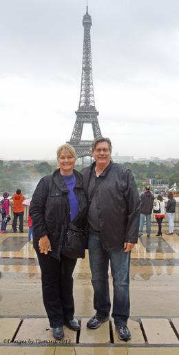 On our Hop on Hop Off Open Top Red Bus Tour as the Eiffel Tower overlook. , Tamara M - November 2013