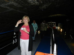 This is my mom, Muriel, enjoying the long trip through the 2km tunnel. , La'Chelle - May 2015