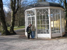 My husband and me at the Gazebo which now stands at the Hellbrunn Palace. , Phillip S - March 2014