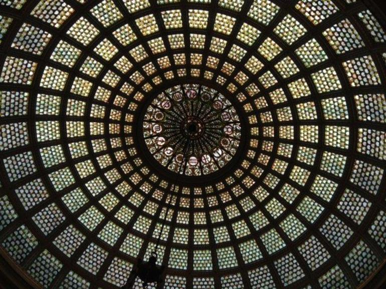 Check out zodiac signs at center of dome - Chicago
