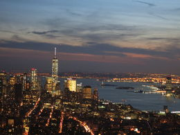 One World Trade Center and Statue of Liberty at night, Patricia P - July 2015