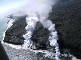 Photo of Big Island of Hawaii 45-Minute Open-Door Volcanoes Helicopter Flight Steam plumes from helicopter
