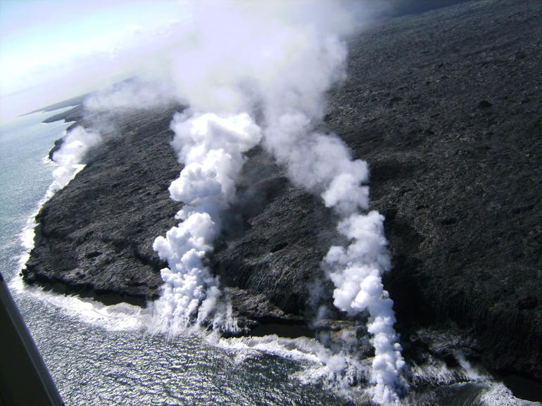 Steam plumes from helicopter - Big Island of Hawaii
