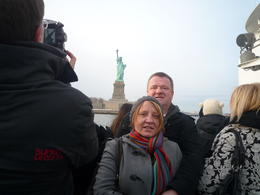 Jim and Sharon on board cruise up and down the Hudson river, with the Statue of Liberty in the background. Well worth the cold. , Jim - February 2011