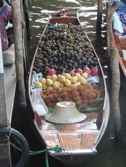 A boat on the floating market laden with fruits , Mohan K - September 2015