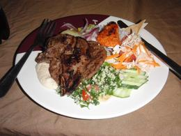 Beef, chicken, lamb, salad, taboule, hummus, etc. , John K. - September 2014