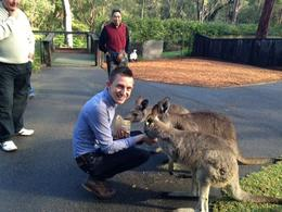 Hand-feeding kangaroos at an Australian wildlife park, Asha & Brock - July 2013