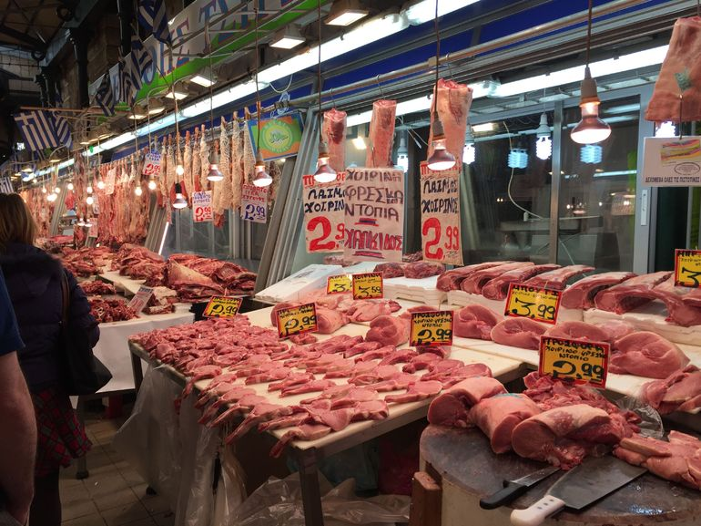 Walk through the meat market in Athens