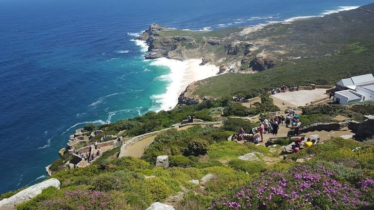 Photo taken at the Cape Point lighthouse.