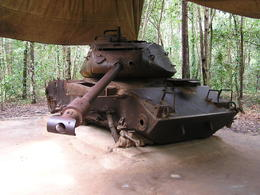 A US tank from the war, on the spot where it was destroyed , Rohan W - September 2013