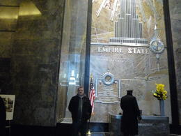 Jim in the lobby prior to going up to the 86th floor of the Empire State building, not looking forward to all those steps!!!! , Jim - February 2011