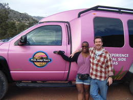 Photo of Las Vegas Red Rock Canyon Luxury Tour Trekker Experience A pink jeep in the desert will never get lost