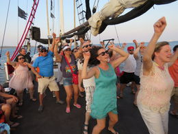 All the guests on the pirate ship drinking and dancing in the Sea of Cortez. , Lorraine W - May 2016