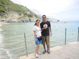Priya and Neil ( son) enjoying the afternoon in one of the town's in Cinque Terre , Samir P - August 2014