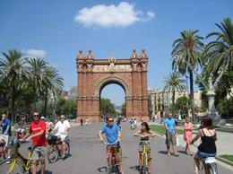 Photo of Barcelona Barcelona Half-Day Bike Tour Arc de Triomf in 34 degree weather
