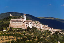Panoramic view of the city of Assisi in Italy, showing the world famous Basilica of St. Francis. - May 2011