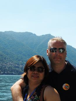 Me and Wife on ferry to Lake Como , mike - August 2012