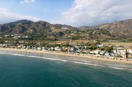 Aerial view of the Pacific coast in Malibu, California - May 2011