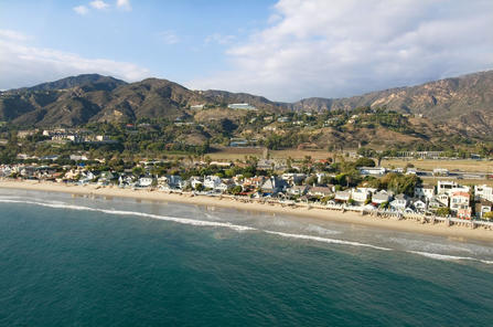 Pacific coast in malibu aerial view of the pacific coast in malibu