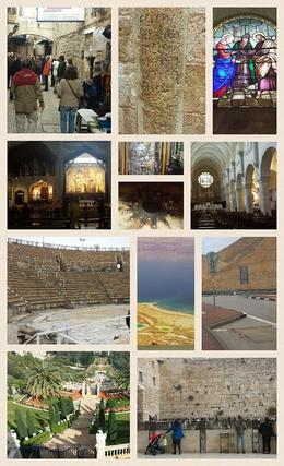 Photo of Tel Aviv 4-Day Christian and Jewish Sacred Sites Tour from Tel Aviv: Jerusalem, Jericho, Bethlehem and Nazareth Tour collage of our 4-day Christian and Jewish Scared Sites Tour