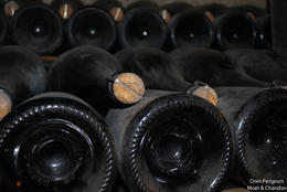 The good stuff just sitting in the cellar at Moet and Chandon during the aging process. , Jeff & Kathy - July 2012