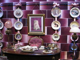 Dolores Umbridge's Office with the collection of the Frolicsome Feline Plates. They sell 4 designs in the gift shop! , Susan L - June 2015