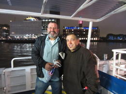 Ollie and Dom on the boat down the Thames , Mr R J V - October 2012