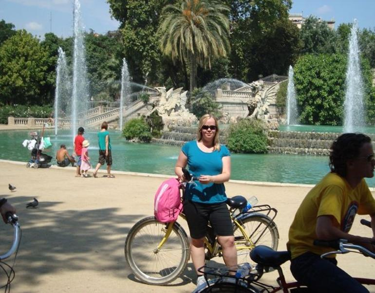 Me & ol' trusty in front of the cascades - Barcelona