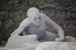 Plaster cast of one of the victims of Pompeii catastrophe. - March 2010