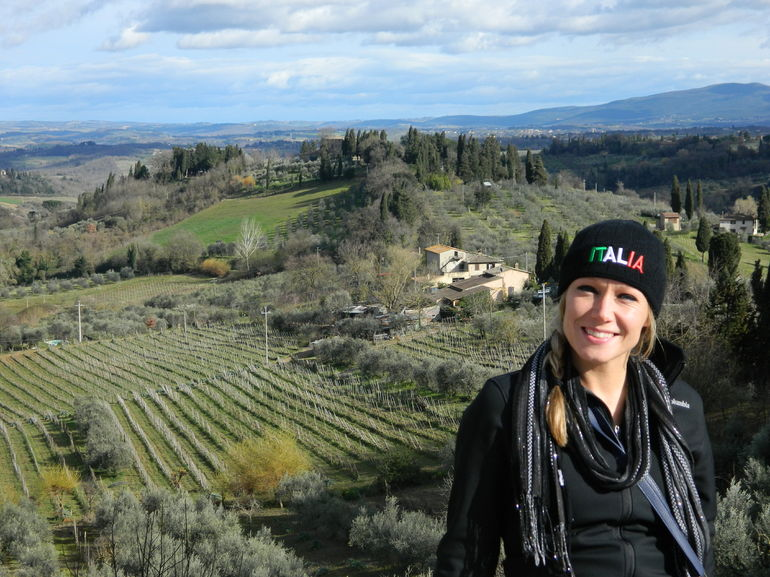 This was me outside of the city of San Gimignano!