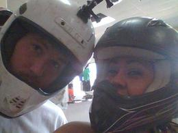 The hubs and i getting to dun buggy in the las vegas dessert , Esther L - June 2013
