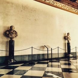 Two of the sculptures inside the Uffizi Gallery in Florence. , Eva L - August 2015