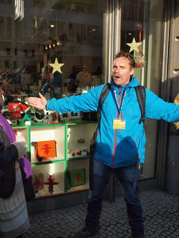 Photo of Berlin Berlin Highlights and Hidden Sites Historical Walking Tour Our Tour Guide outside the Ampelman Store