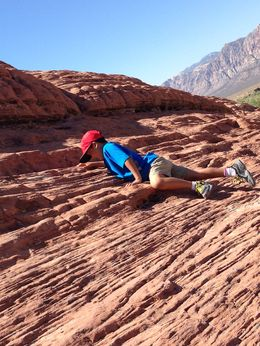 Climbing the sandstone rock. , Gail C - June 2015