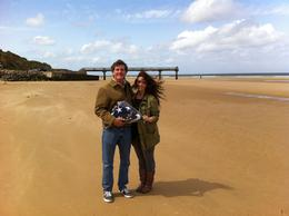 My daughter and I bringing back my father's flag from his military funeral, 70 years after he landed on Omaha beach , Craig S - May 2014