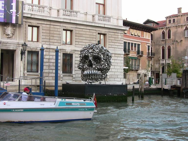 Skull on canal cruise - Venice