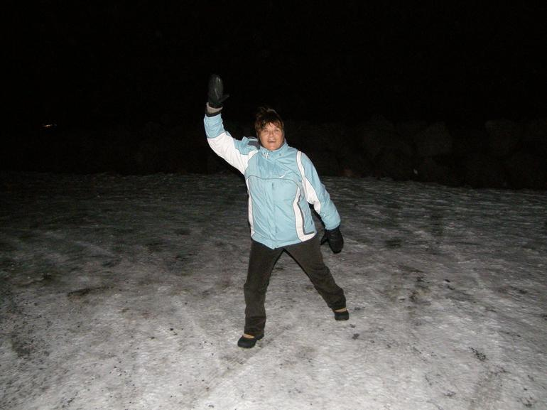 My wife at the Northern Lights - Reykjavik