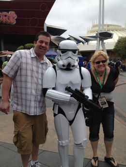 Jason and Lory with a Stormtrooper, JennyC - June 2012