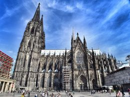 This is a side angle photograph of the cathedral of Cologne city. , David Lally - September 2015