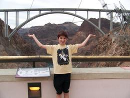 Picture from the top of Hoover Dam with Josh holding up the bridge. , Paul - October 2013