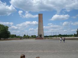 An East German/Russian memorial to the Communist victims of the camp with typically idealistic statues of brave Russian soldiers liberating a worker., Kevin B - June 2008