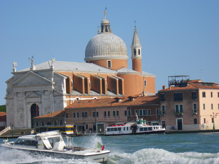 Photo taken from our water taxi as it began its trip around the Grand Canal and the waterways of Venice