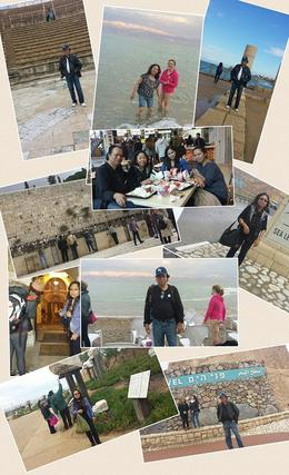 Photo of Tel Aviv 4-Day Christian and Jewish Sacred Sites Tour from Tel Aviv: Jerusalem, Jericho, Bethlehem and Nazareth Collage on our tour of holy sites incl Caesaria, Haifa,Dead Sea and Masada.